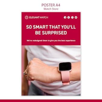 Modello di poster del negozio di orologi così intelligente