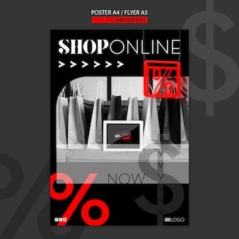 Modello di poster dello shopping di moda online