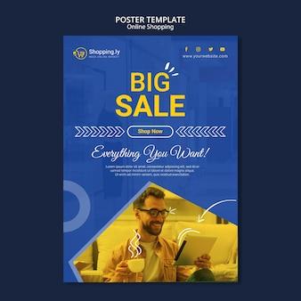 Modello di poster dello shopping online