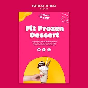 Modello di poster dessert congelato in forma