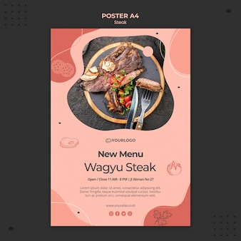 Modello di poster di bistecca