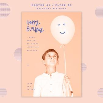 Modello di poster di buon compleanno