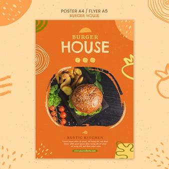 Modello di poster di burger house