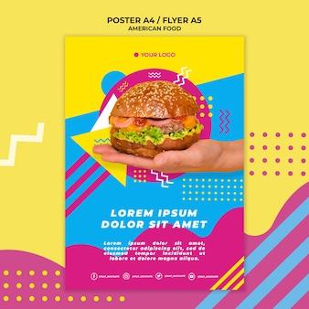 Modello di poster di cibo americano con foto