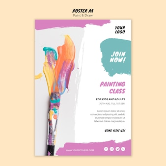 Modello di poster di classe di pittura