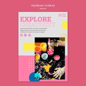 Modello di poster di concetto di arte di vernice