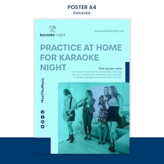 Modello di poster di concetto di karaoke
