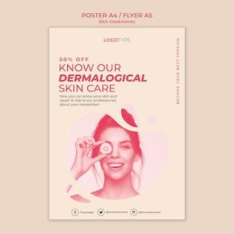 Modello di poster di concetto di trattamento della pelle