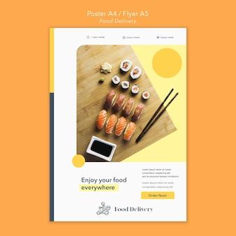 Modello di poster di consegna cibo