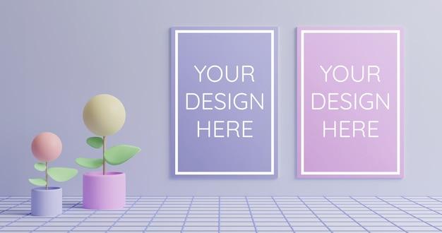 Modello di poster di coppia in 3d rendering stile colore pastello