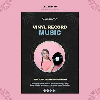 Modello di poster di dischi in vinile