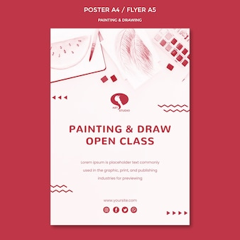 Modello di poster di disegno e pittura