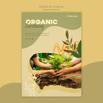 Modello di poster di giardinaggio biologico