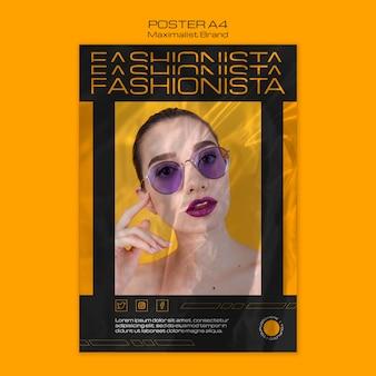 Modello di poster di massimalista marchio fashionista