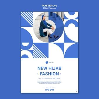 Modello di poster di moda hijab con foto