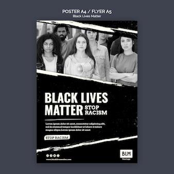 Modello di poster minimalista nero vita materia