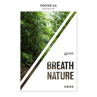 Modello di poster natura selvaggia con foto