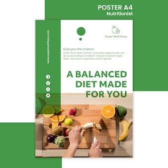 Modello di poster nutrizionista con foto