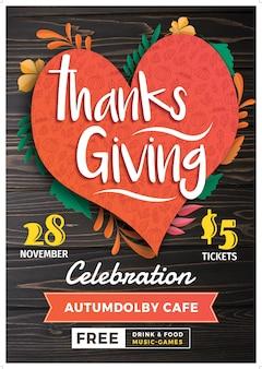 Modello di poster o flyer dell'evento del ringraziamento. 28 novembre
