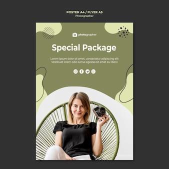 Modello di poster pacchetto speciale fotografo