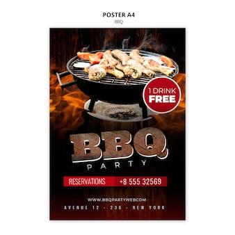 Modello di poster per barbecue a4