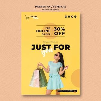 Modello di poster per la vendita di moda online