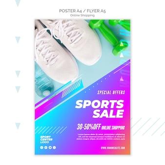 Modello di poster per la vendita di sport online