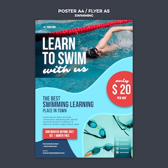 Modello di poster per lezioni di nuoto con nuotatore professionista