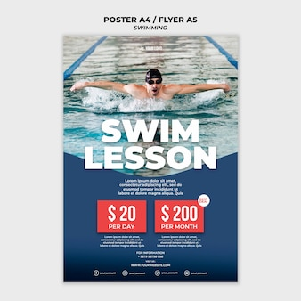 Modello di poster per lezioni di nuoto