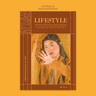 Modello di poster per lo stile di vita della moda