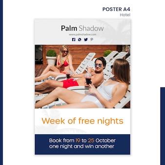 Modello di poster per prenotazione alberghiera