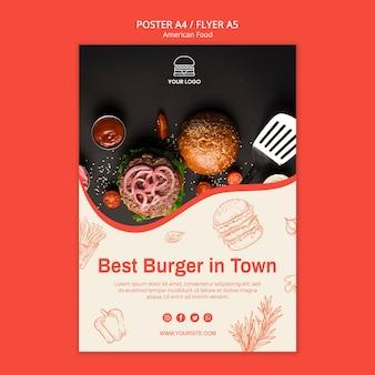 Modello di poster per ristorante di hamburger