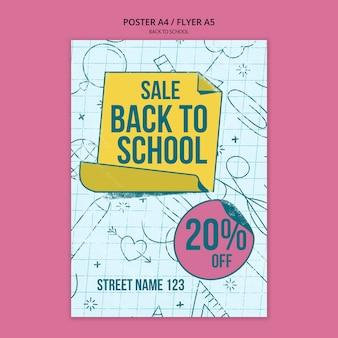 Modello di poster per tornare a scuola