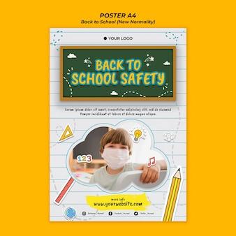 Modello di poster per tornare alla stagione scolastica