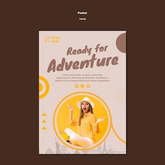 Modello di poster per viaggiare tempo di avventura