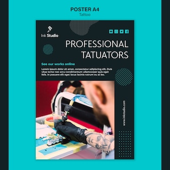 Modello di poster professionale tattoo studio