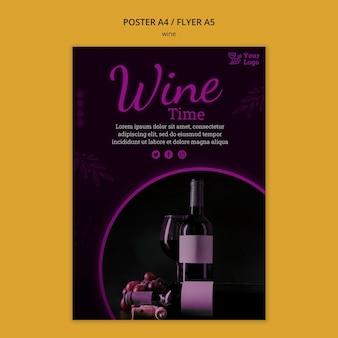 Modello di poster promozionale del vino
