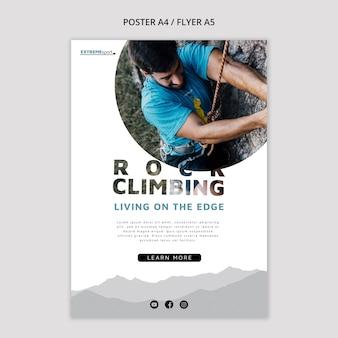 Modello di poster pronto per l'arrampicata su roccia