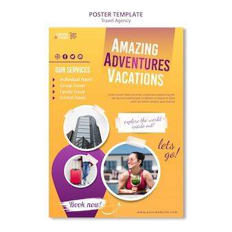 Modello di poster pubblicitario di agenzia di viaggi