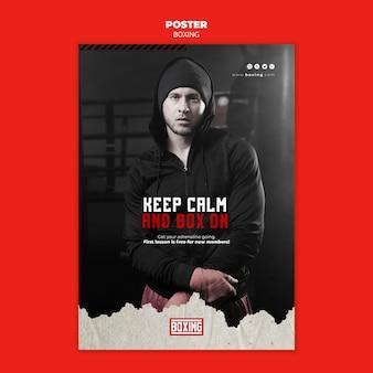 Modello di poster pubblicitario di boxe