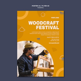 Modello di poster pubblicitario di carpentiere