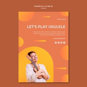 Modello di poster pubblicitario di ukulele