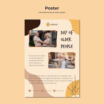 Modello di poster pubblicitario per la giornata internazionale degli anziani