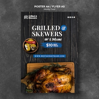 Modello di poster ristorante spiedini alla griglia
