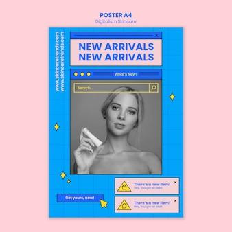 Modello di poster skincare digitalismo