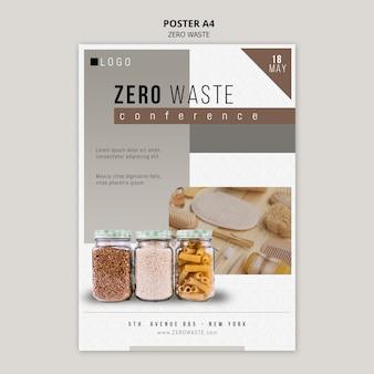 Modello di poster zero rifiuti con foto