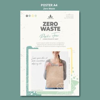 Modello di poster zero rifiuti