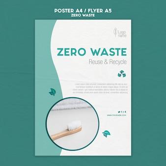Modello di poster zero waster con foto