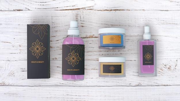 Modello di prodotti di bellezza su fondo di legno