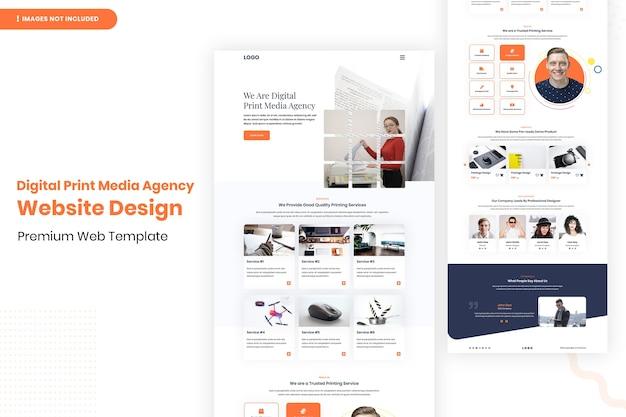 Modello di progettazione del sito web dell'agenzia di media stampa digitale